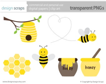 bee clip art graphics, bumble bee honey bee hive honeycomb digital clipart  commercial use - INSTANT DOWNLOAD