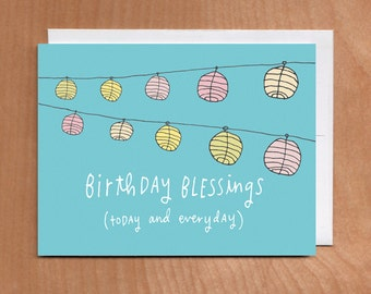 BIRTHDAY BLESSINGS Card (2-9C) blue