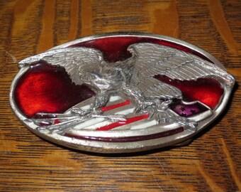 Vintage 1983 Enameled  Bergamot Belt Buckle , Made in USA , Eagle holding arrows