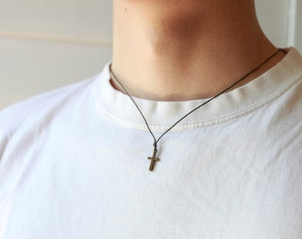 Men's Cross Necklace , Necklace for men, Bronze Cross charm, black cord, gift for him,Cross Necklace