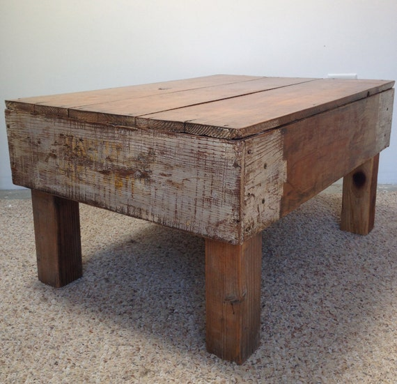 Items Similar To Refurbished White Vintage Crate Coffee Table On Etsy