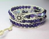 Amethyst 3 Wrap Bracelet, Purple Leather Wrap, Triple Lavender Wrap Bracelet, Boho Wrap