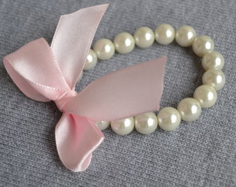 pearl bracelet,ivory pearl bracelet,Ribbon Ties bracelet,pink  Ribbon ,Glass Pearl bracelet,Wedding bracelet.bridesmaid bracelet,Jewelry