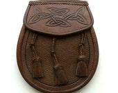 Vintage Scottish 1980's Celtic Knot Leather Day Sporran
