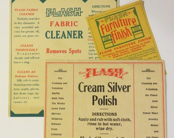 Vintage FLASH Cleaning Labels circa 1920