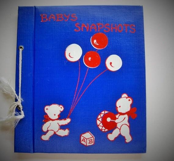 Snapshot baby album. Vintage photo album. Teddy bears and balloons. Baby shower gift