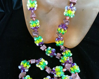 Vintage Long Colorful Plastic Beaded Necklace