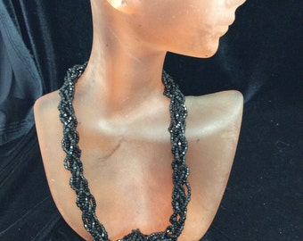 Vintage Multi Stranded Black Glass Beaded Necklace