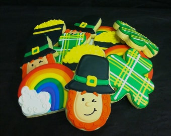 St. Patrick's Day Cookies, Individual St. Patrick's Day Cookies, Shamrock Party Favor Cookies, Rainbow Cookie Favors, Pot of Gold Cookies