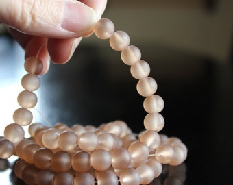 100 approx. light brown 8 mm frosted glass beads, 1mm hole, round glass beads