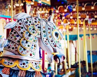 Come take a ride, carousel horse, amusment ride. bright colors 8x10 photograph; metallic finish