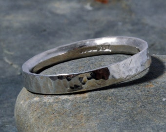 Silver hammered skinny ring Sterling Silver Hammered Ring Handmade choose your size custom made 925 ring