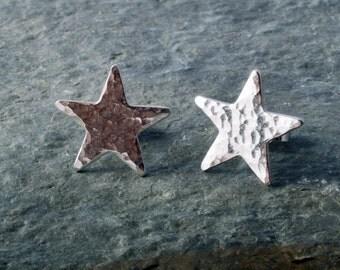 Sterling Silver Hammered Star Earrings Ear Studs handmade
