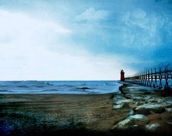 Michigan Photography, Michigan Photo, South Haven Lighthouse, Fine Art Print, Art, Lighthouse Photography, Blue, White, Red Shoreline, Beach