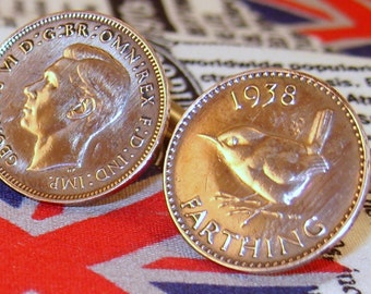 Boxed Pair Vintage British 1938 Farthing Coin Cufflinks Wedding 79th Birthday