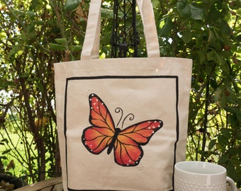 Bird Butterfly Hand painted 100% cotton canvas tote-bird/butterfly