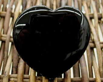 Black Agate Flat Heart, 45 mm - Item 55143