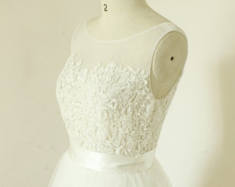 A-line sheer ivory wedding dress, lace tulle wedding gown, mesh wedding dress, beach destination wedding dress