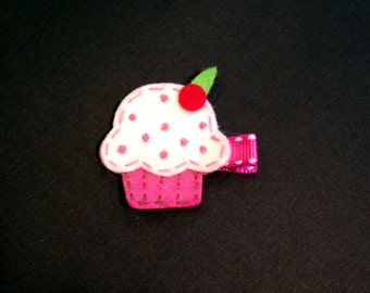 Pink Cupcake Hair Clip - White, Red Birthday Party Clippie - Hair Clip - Girl's Clippie