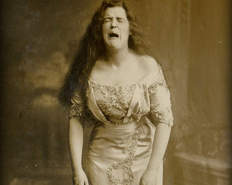 1890s (1800's ) Woman about to sneeze photographed Photo Print