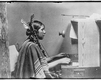 Native American Indian Female Telephone Operator- Glacier Hotel- Montana Photo Print
