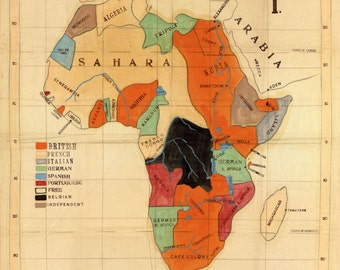 Colonial Map of Africa- (1901)- Map Print