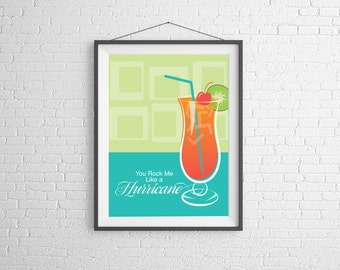 Hurricane - You Rock Me Like a Hurricane - Hurricane Print - Wall Art - Cocktail Illustration - Bar Decor - Bar Art - Cocktail Poster