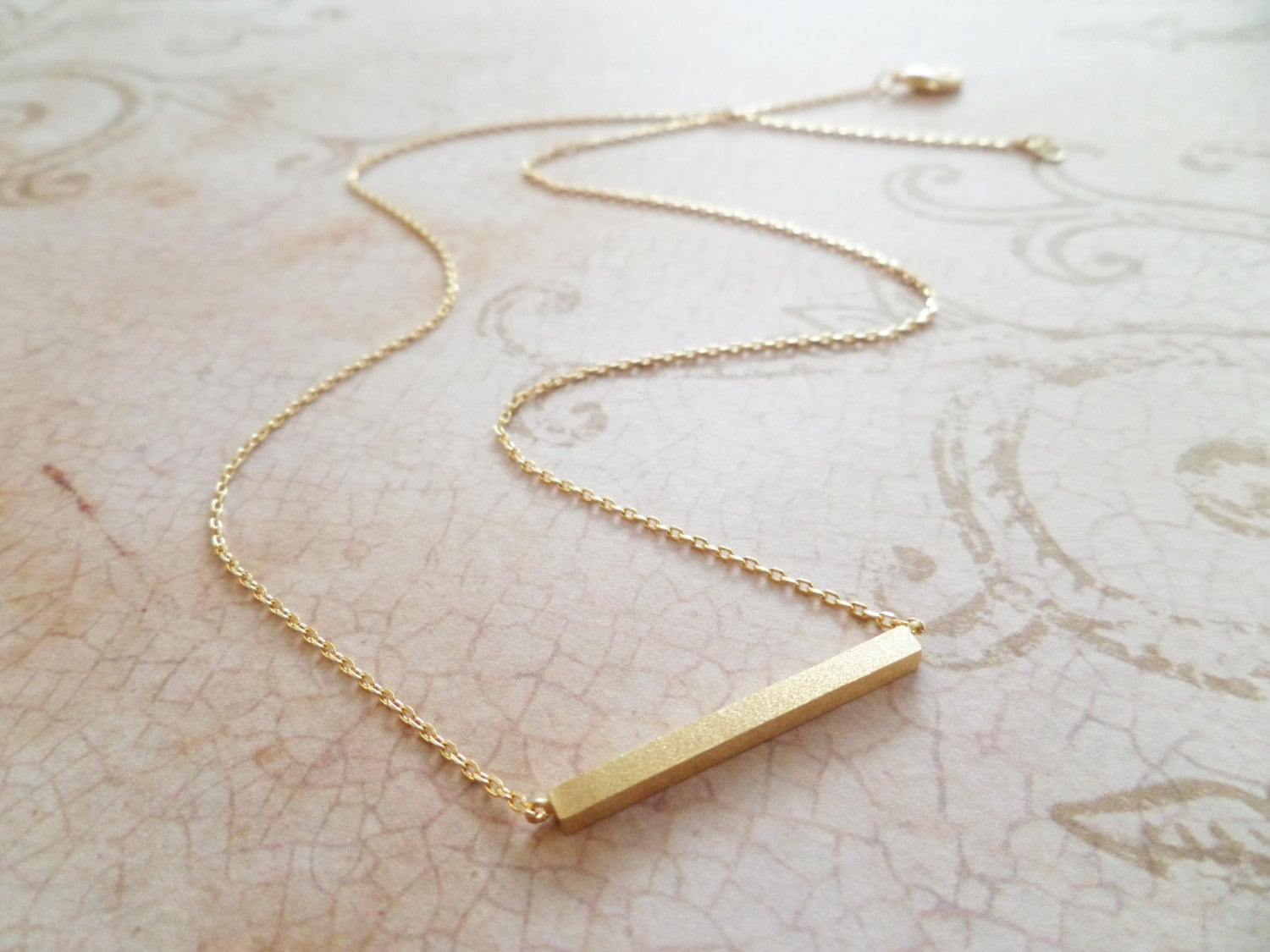 gold bar necklace dainty handmade necklace everyday