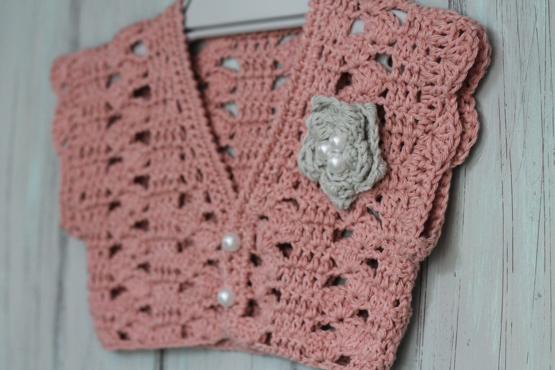 Crochet Flower Shrug Pattern : Crochet Pattern Girls Bolero Pattern Pearl Flower