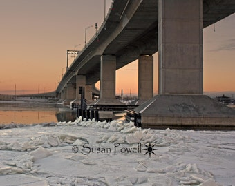 Bridge Photography, Highlands NJ, Highlands Bridge Photo, Jersey Shore Photos, Snow Photos, Ice Photos, Frozen Water, Ocean Sunset Photos