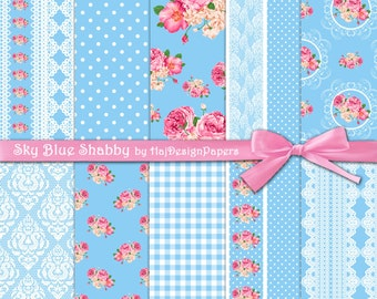 "Shabby chic digital paper : ""Sky Blue Shabby"" blue digital paper with pink roses, lace, polka dot, gingham and damask / floral digital paper"