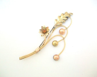Flower Brooch, Flower Pin, Gold Brooch, Gold Pin, Large Flower Pin Large Flower Brooch Gold Flower Pin Gold Flower Brooch Flower Stem Brooch