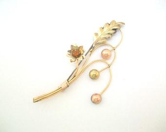 Flower Brooch, Flower Pin, Gold Brooch, Gold Pin, Large Flower Pin, Large Flower Brooch, Gold Flower Pin, Gold Flower Brooch, Flower Stems