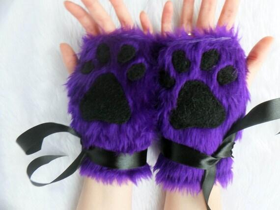 Cute Purple Furry Wolf Fox Dog Bear Cat Paw Print Fingerless