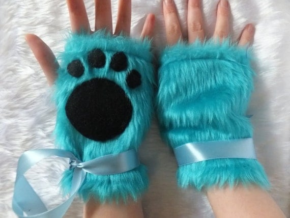 Cute Electric Turquoise Blue Faux Fur Furry Cat Wolf Care Bear