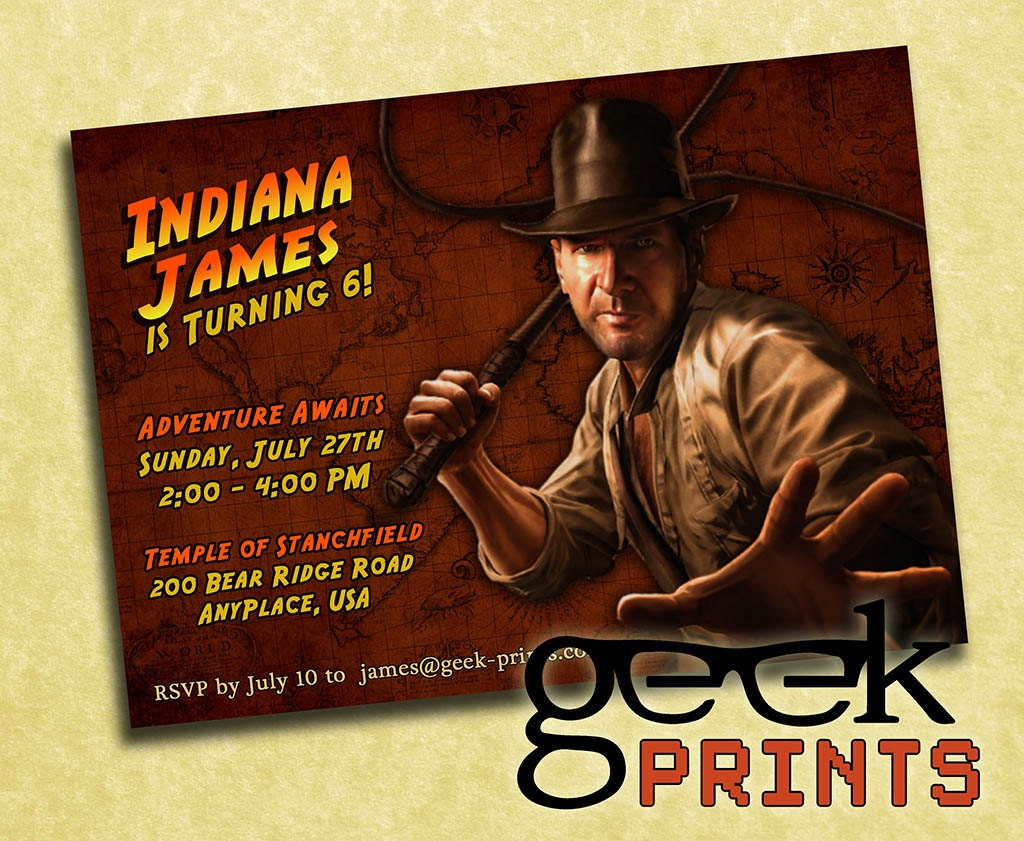 Custom Printable Birthday Invitations – Indiana Jones Party Invitations
