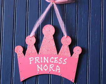 Princess Crown Door Sign, Personalized WoodCutout Design, Hand Personalized, Girl's room decor. Princess Decor. Girl's Room Sign. NORA.