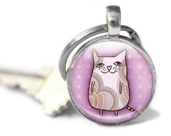 Cat Keychain - Cat Lover Accessory - Cat Lady Gifts - Cute Keychain Gift - Cat Mom Gifts - Cat Keyring