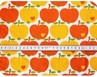 Graziela retro vintage children's fabric with apples - orange and yellow