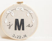 "6"" Personalized Wedding Gift Keepsake - Felt and Embroidery Hoop Art - Personalized - Linen, Gray and White"