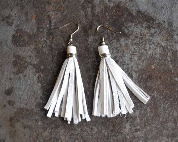 White leather Tassel Earrings, adjustable,in reclaimed leather -Made in the UK- Party earring, white tassel, white earring, ecofriendly