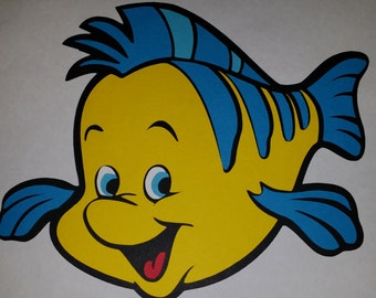 "Extra Large - 11"" Flounder - Disney Princess -Birthday - Party - Decoration - Shower - Die Cut"