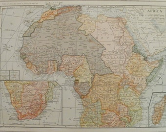 Africa Map,Africa Continent Map,Sahara Morocco Egypt Sudan Cameroon Congo Togo Mozambique Madagascar,Place on the World Map,1918 9x12 VS19