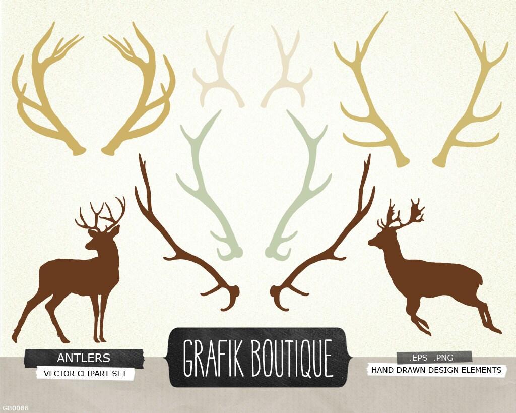 Antlers Deer Silhouette Vector Clip Art From