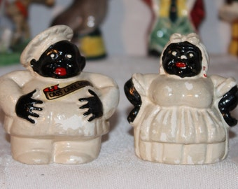 chalk ware set of black chef and housekeeper salt and pepper shakers, souvenir of Cass Lake, Minn