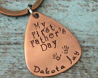 Guitar Pick Baby Handprint Hand Stamped Personalized Keychain - First Fathers Day, Gifts for Dads