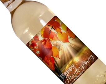 Thanksgiving Custom Wine Label - Holiday Wine Label