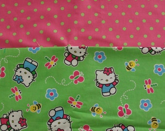 Shopping cart/high chair cover custom made in Hello Kitty and hot pink and lime green polka dots