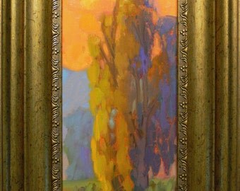 California   Eucalyptus  Landscape.  original oil painting By listed artist James Osorio.  Impressionist -Tonalist landscape