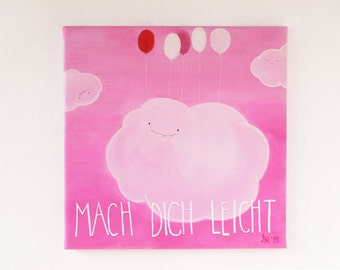Make yourself easily!. Canvas print. Clouds. Cloud. Pink. Balloons.